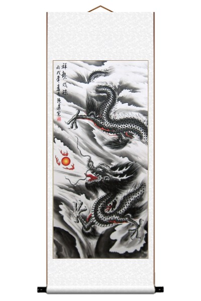 Chinese Black Dragon Scroll Art Painting