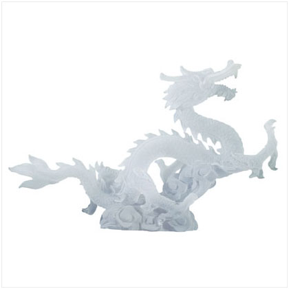 Frosted White Chinese Dragon Statue