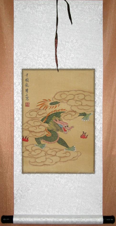 Green Dragon Art Scroll Chinese Silk Painting