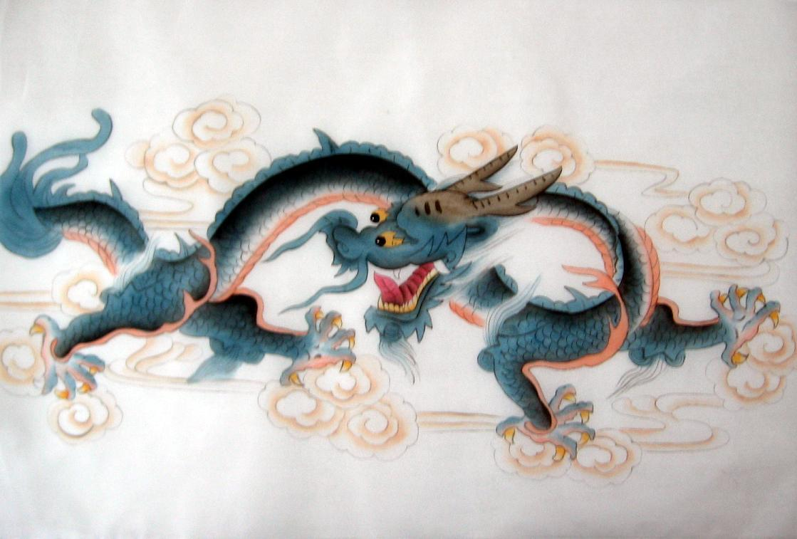Chinese Blue Horned Dragon Painting on Silk Fabric