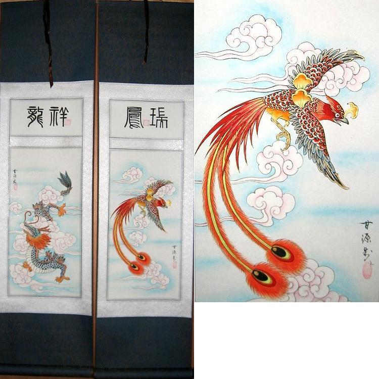 chinese dragon phoenix scroll art set