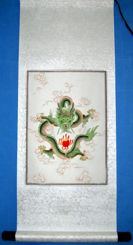 Chinese Green Dragon Scroll Silk Painting