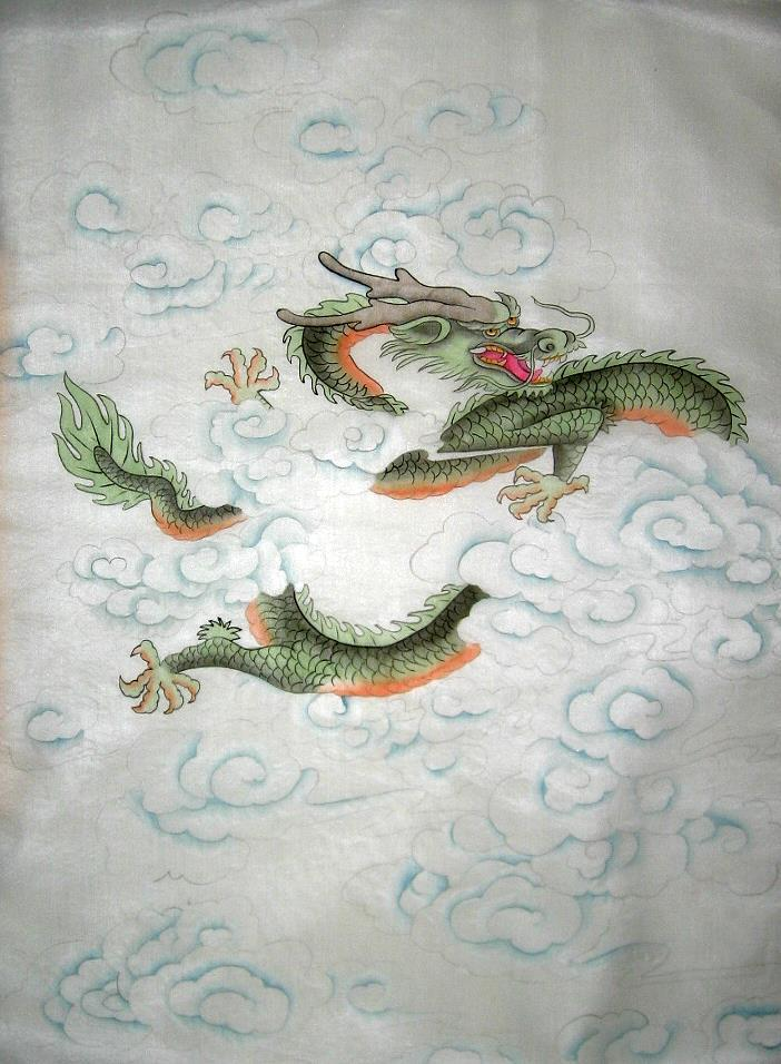 Chinese Silk Painting Green Horned Dragon