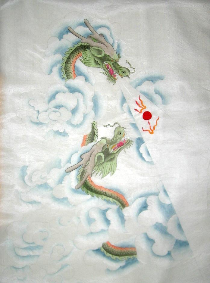 Silk Chinese Green Dragons in Clouds Painting