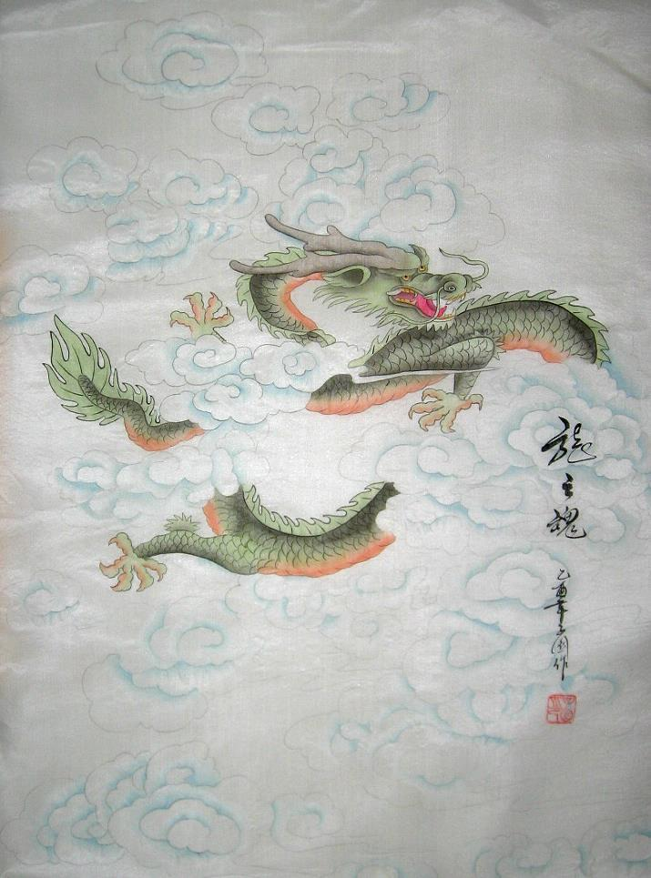 Chinese Painting of a Green Dragon on Silk Fabric