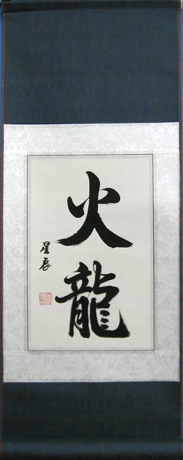 Chinese Fire Dragon Art Calligraphy Scroll Painting