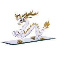 Red Eyed Chinese Dragon Statue Holding Pearl Wisdom