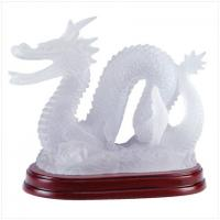Illuminated Frosted Chinese Dragon Statue