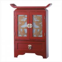 Chinese Dragon Door Painted Wood Cabinet