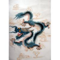 Chinese Blue Dragon Silk Painting