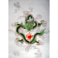 Chinese Green Dragon Silk Hand Painting