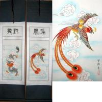 Chinese Dragon Phoenix Scroll Art Set