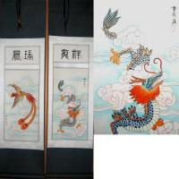 Chinese Dragon Phoenix Scroll Art Painting Set