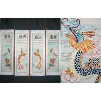 Chinese Dragon Phoenix Art Scroll Painting Set